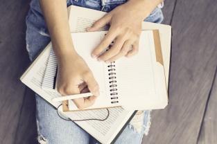 writing in book