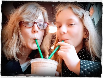 K and Ella drinking milkshake